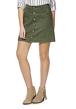 F&F Button-Through Mini Skirt - Khaki