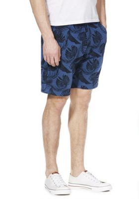 F&F Leaf Print Drawstring Shorts Navy 2XL