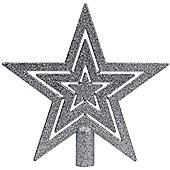 Silver 17cm Glitter Finish Star Christmas Tree Topper