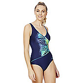 Zoggs Swimshapes Tropical Print Wrap Style Body Shaping Swimsuit - Navy