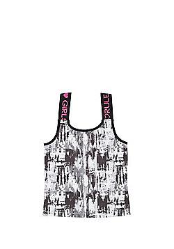 F&F Active Blurred Marble Print Sports Vest - Black & White