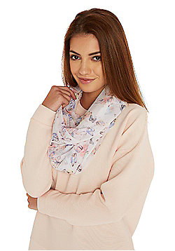 F&F Butterfly Print Circle Scarf - Multi