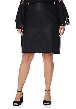 Junarose Faux Leather Pencil Plus Size Skirt - Black