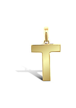 9ct Yellow Gold Initial Charm Identity Pendant - Letter T