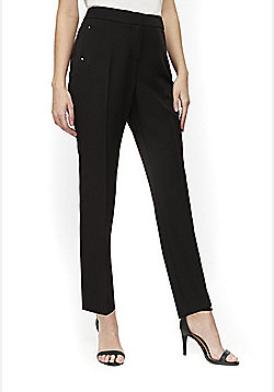 Wallis Petite Tapered Black Trousers - Black