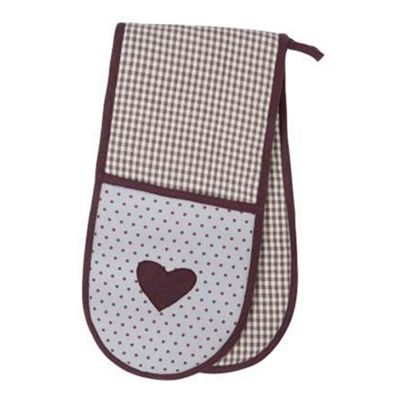 Rushbrookes Vintage Heart Double Oven Glove, Lavender