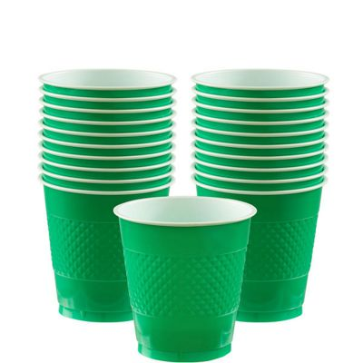 Green Plastic Cups 266ml, Pack of 20