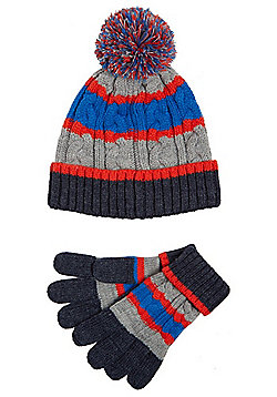 F&F Stripe Cable Knit Bobble Hat and Gloves Set - Multi
