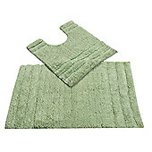Homescapes Spa Supreme Luxury Sage Green Bath and Pedestal Mat