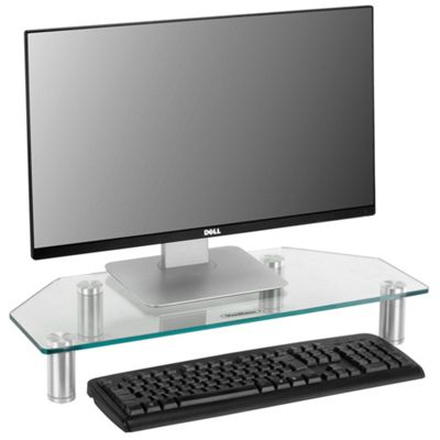 VonHaus Glass Corner Monitor Screen Riser Stand for Computers, Laptops & TVs - Clear - 60 x 26 cm