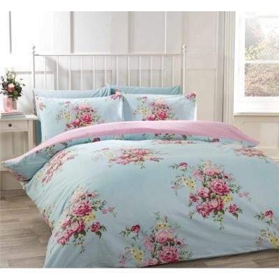 Rapport Kate Blue Flannelette Duvet Cover Set - Double