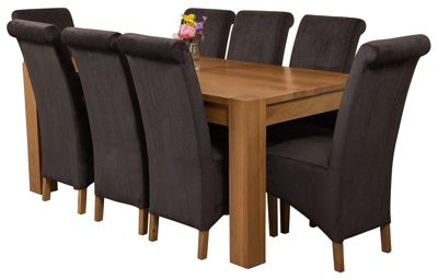 Kuba Chunky 180cm Kitchen Solid Oak Dining Set Table + 8 Black Fabric Chairs