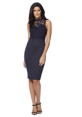 AX Paris Lace High Neck Pencil Dress 12 Navy