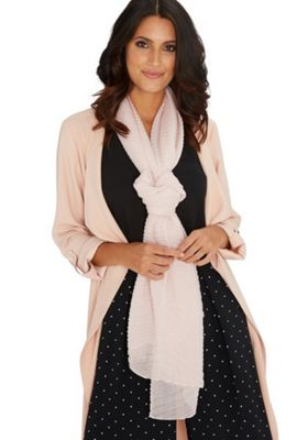 F&F Sparkle Pleated Scarf One Size Pink