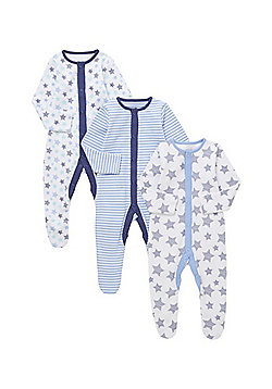 F&F 3 Pack of Star Print and Striped Sleepsuits - Blue