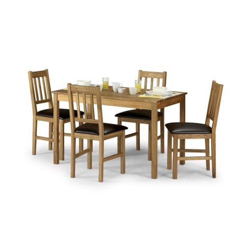 Solid American White Oak Rectangular Dining Set - Table + 4 Chairs