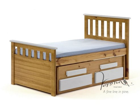 Verona Bergamo Kids Captains Bed with guest bed - Antique White
