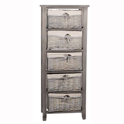 Grey Paulownia Wood 5 Drawer Unit with Plain Linin