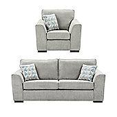 Boston Armchair + 3 Seater Sofa Set, Light Grey