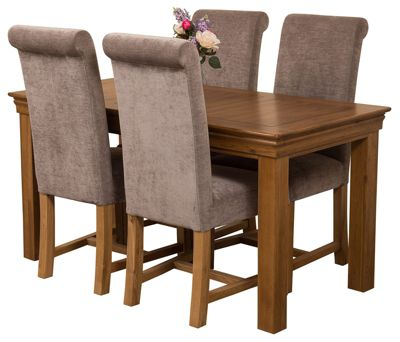 French Rustic 150cm Solid Oak Dining Set Table & 4 Grey Fabric Chairs
