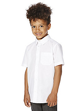 F&F School 2 Pack of Boys Stain Resistant Non Iron Short Sleeve Shirts - White