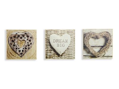 Rustic Hearts Set of 3 Printed Canvases 20cm x 20cm Each