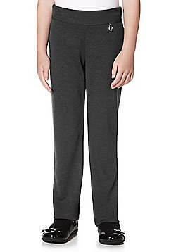 F&F School Girls Straight Leg Jersey Trousers - Grey