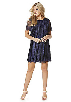 Yumi Velour Plisse Lace Trim Dress - Midnight blue