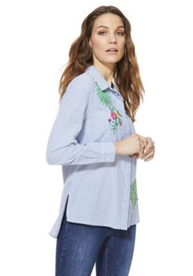 F&F Embroidered Striped Shirt Multi Blue 8