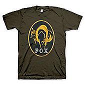 Metal Gear Solid V : Ground Zeroes Fox Logo Khaki T-shirt - Size Large - Gaming T-Shirts