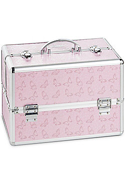 Beautify Large Silver Pink Butterfly Lockable Vanity Make Up Beauty Storage Case