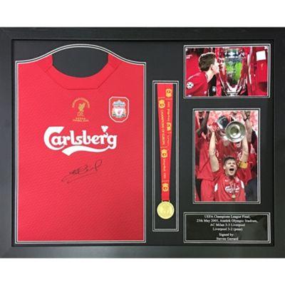 Framed Steven Gerrard 2004 Liverpool shirt & medal