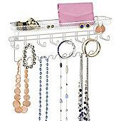 White Wall Mounted Jewellery Organiser Necklace Earring Bracelet Watch Tie Key Hanger