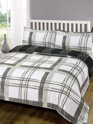 Poole Grey Check Double Duvet Cover and Pillowcase Set