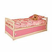 Comfy Living 3ft Single Children's Slide Storage Cabin Bed with Pink Slide Storage & Basic Budget Mattress