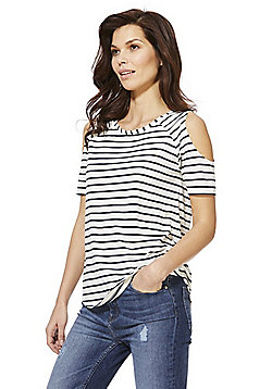 F&F Striped Cold Shoulder T-Shirt - Multi