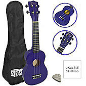 Red Star Soprano Ukulele with Bag - Purple