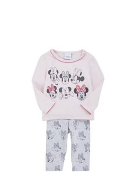 Disney Minnie Mouse Faces Long Sleeve T-Shirt and Leggings Set Pink/Grey 0-1 months