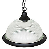 Matt Black American Diner Pendant Light with Clear Ribbed Glass Dome