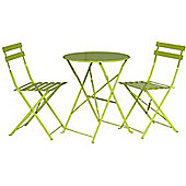 Padstow Apple Green Folding Steel Garden Bistro Set