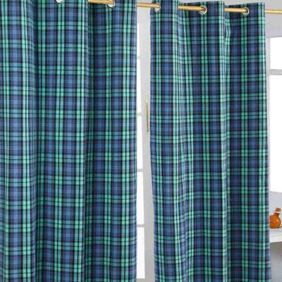 Homescapes Black Watch Tartan Ready Made Eyelet Curtain Pair, 137 x 182 cm Drop