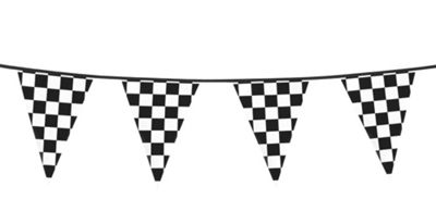 Chequered Black & White Racing Bunting Party Banner Decoration Accessory 6M