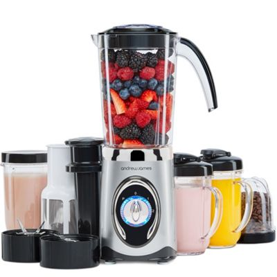 Andrew James Smoothie Maker & Blender 4 in 1 Machine with Ice Crusher Grinder & Juicer - Silver