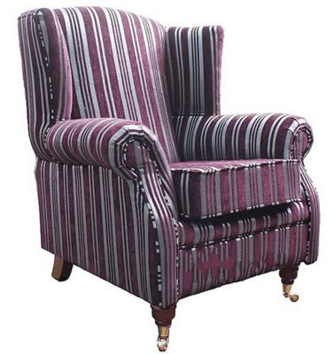 Wing Chair Fireside High Back Armchair Trinity Aubergine Stripe