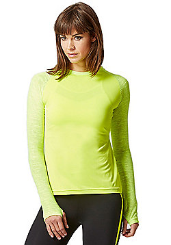 Yoga Long Knitted Sleeve Panel Top Yellow - Yellow
