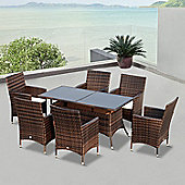 Outsunny 7 PC Wicker Garden Furniture Rattan Dining Set Rectangular Table - Brown