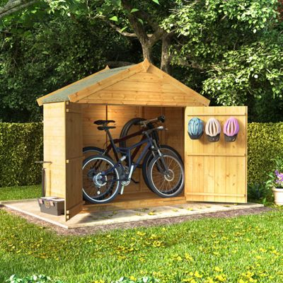 3x6 Tongue and Groove Wooden Apex Bike Storage Double Door Roof Felt Store Shed - 3ftx6ft