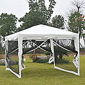 Outsunny 4m x 3m Waterproof Garden Metal Gazebo Marquee Cover Shade w/ Mesh Sidewalls