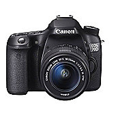 Canon EOS 70D SLR Camera Black EF-S 18-55mm IS STM 20.2MP 3.0TouchLCD FHD