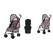 Obaby Atlas Stroller/Mosquito Net/Footmuff - Grey Rose
